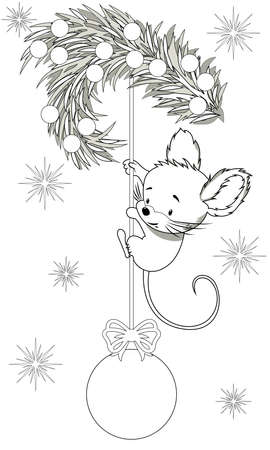 Children's coloring of mouse hanging on the Chri