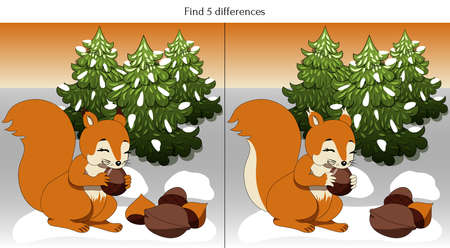Find 5 differences with a squirrel gnawing nuts Ilustração