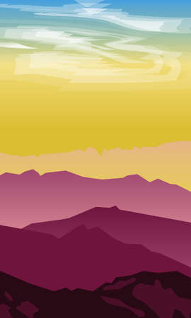 Silhouette of mountains against the setting sun