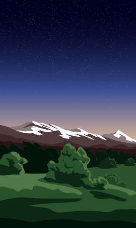 Field with trees on the background of mountains and night starry sky