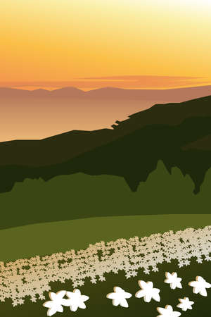 Background with green hills and sea Illustration