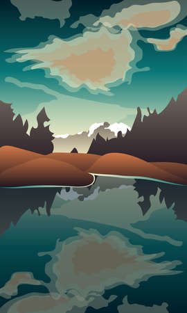Image of a lake on a mountain and forest background