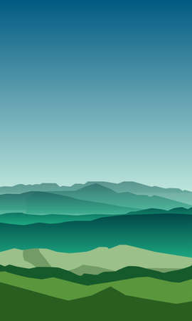 Picture with green hills on a blue sky background