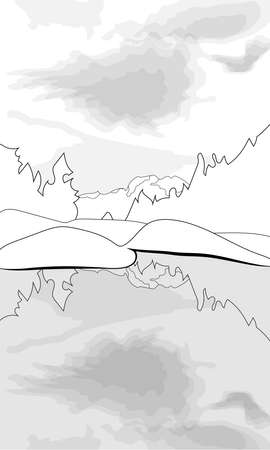 Coloring of a lake on a mountain and forest background Illustration