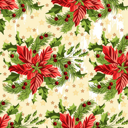 Seamless pattern with a Christmas bouquet of poinsettia, spruce branches and Holly on a background of stars