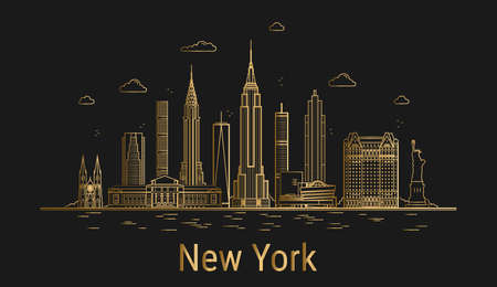 New York city line art, golden architecture vector illustration, skyline city, all famous buildings.