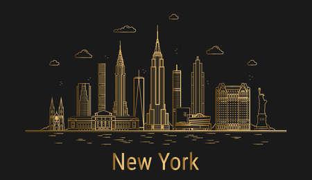 New York city line art, golden architecture vector illustration, skyline city, all famous buildings.