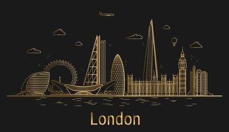 London city line art, golden architecture vector illustration, skyline city, all famous buildings.