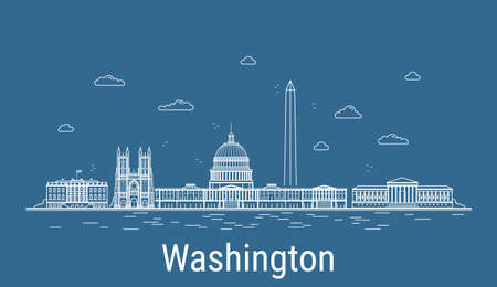 Washington city, Line Art Vector illustration with all famous buildings. Linear Banner with Showplace. Composition of Modern cityscape. Washington buildings set.