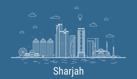 Sharjah city line art Vector illustration with all famous buildings. Cityscape.