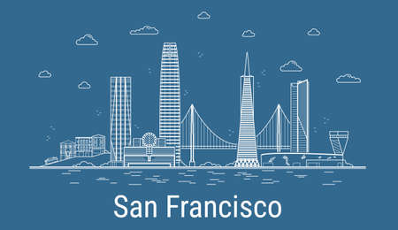 San Francisco city, Line Art Vector illustration with all famous towers. Linear Banner with Showplace. Composition of Modern buildings, Cityscape. San Francisco buildings set.