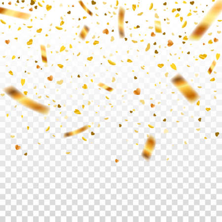 Stock vector illustration defocused gold confetti isolated on a transparent background. EPS 10. New year, birthday, valentines day design element. Holiday background.