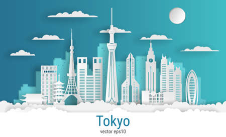 Paper cut style Tokyo city, white color paper, vector stock illustration. Cityscape with all famous buildings. Skyline Tokyo city composition for design. Vetores