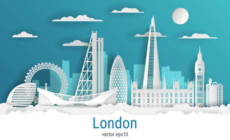 Paper cut style London city, white color paper, vector stock illustration. Cityscape with all famous buildings. Skyline London city composition for design.