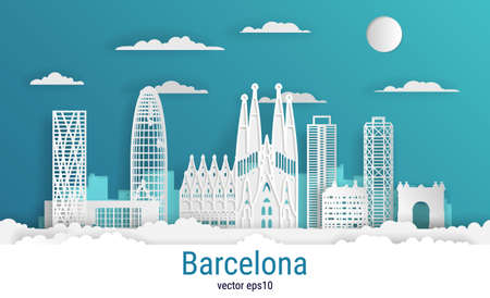 Paper cut style Barcelona city, white color paper, vector stock illustration. Cityscape with all famous buildings. Skyline Barcelona city composition for design.
