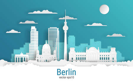 Paper cut style Berlin city, white color paper, vector stock illustration. Cityscape with all famous buildings. Skyline Berlin city composition for design.