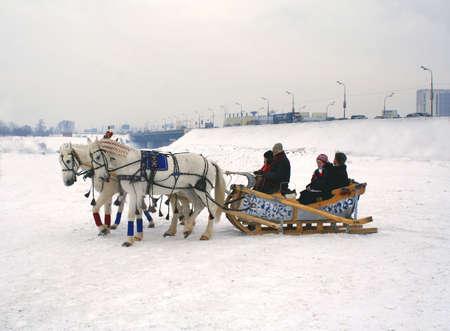 sledge: tres-three-tuple ruso de caballos Foto de archivo