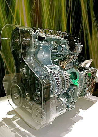 Complex engine of modern car with lots of details photo