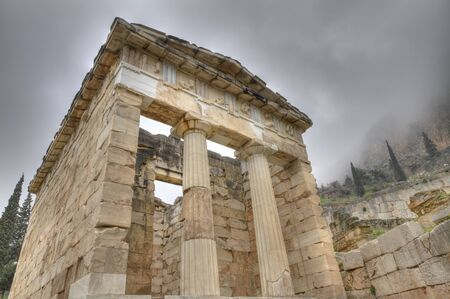 photo of the reconstructed Treasury of Athens at Delphi photo