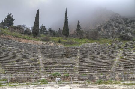 photo of the ancient theatre at Delphi photo