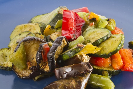 ingedient: a plate with mixed  grilled  vegetables