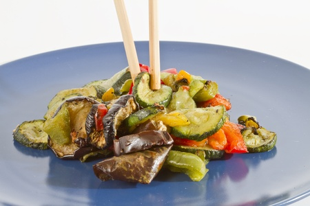 ingedient: photo of chopsticks and mixed grilled vegetables
