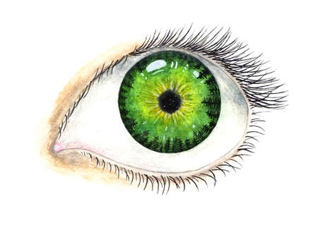 Beautiful female eye. Pupil with the universe inside. Watercolor illustration.