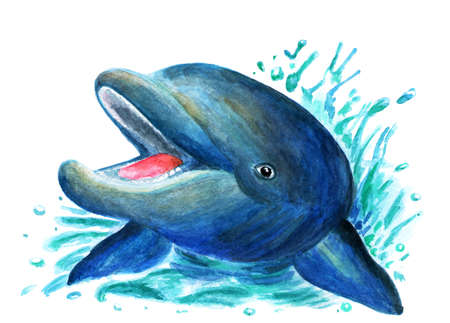 Illustration of a dolphin painted in watercolor. Design of clothes, books. Cheerful dolphin, bright illustration. Drawing for printing, clothing, fabrics. Illustration for a book.