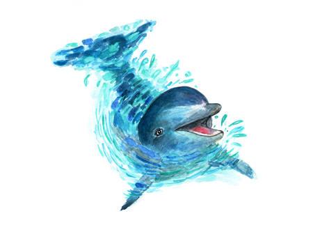 El delfín salpica en el agua. Arte de la acuarela. Un divertido delfín se juega en el agua. Las salpicaduras vuelan en todas las direcciones. Ilustración de moda
