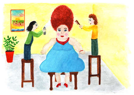 Beautiful woman in a hairdresser. Watercolor illustration. Two hairdressers make a fashionable hairstyle to a beautiful woman. Beauty and fashion. Stock Photo