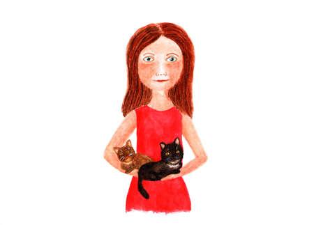 그녀의 팔에 고양이 두 마리와 여자입니다. 수채화 그림. 빨간 드레스에 아름 다운 여자 (여자) 그녀의 팔에 고양이 두 마리를 들고있다. 애완 동물은