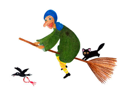 Baba Yaga. Watercolor illustration painted by hand. Fabulous character of a woman yaga. The old lady is flying on a broom, next to a black cat. Illustration for a childrens book.
