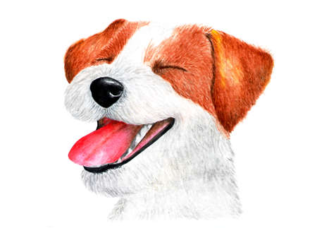 Smiling Jack Russell Terrier. Watercolor illustration. Happy life and laughing Jack Russell Terrier. Portrait of a dog for printing on t-shirts, t-shirts, sweatshirts. Hit of the year. Stock Photo