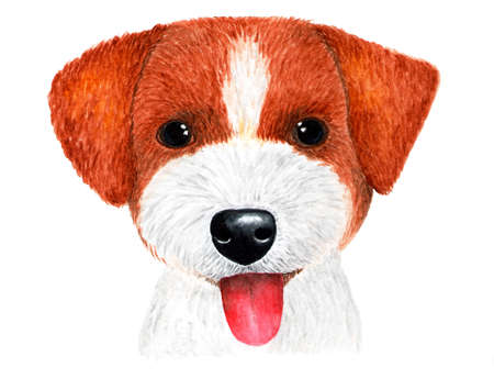 Puppy Jack Russell Terrier. Watercolor illustration. Portrait of puppy Jack Russell Terrier. Illustration for printing on t-shirts. Stock Photo