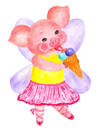Nice pig. Symbol of year.  illustration. Sweet pig fairy. Symbol of 2019. Illustration for printing on childrens jackets, t-shirts, diapers, etc.