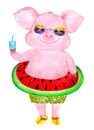 Nice and funny pig. Watercolor illustration. Funny pig in shorts and with an inflatable circle at the waist. Illustration for printing on childrens jackets, mugs and bottles for drinks. Stock Photo