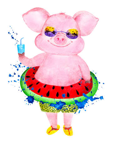 Happy pig enjoys life. Watercolor illustration. Funny pig in shorts and with an inflatable circle at the waist in a spray of waves. Illustration for printing on mugs, bottles and beverage glasses. Stock Photo