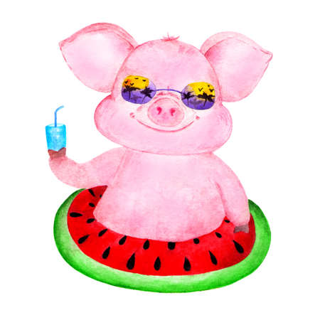 Cute pig. Watercolor illustrations drawn by hand. Portrait of a pink pig. Pig on an inflatable circle. Illustration for decoration, design, printing.