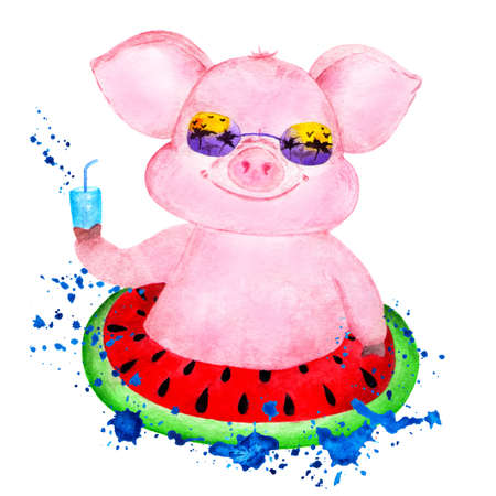 Cute pig. Watercolor illustrations drawn by hand. Portrait of a pink pig. Pig on an inflatable circle in a spray of waves. Illustration for printing on t-shirts. Stock Photo