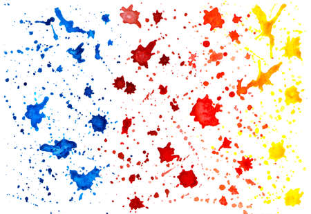 Blots painted with watercolor. Illustration on white background. Bright watercolor blots of blue, red, orange and yellow. Cool print for printing on clothes, books, notebooks.
