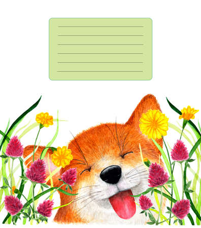 Cover for notebook with smiling fox.  illustration. Smiling fox sitting in the grass. Background for design, printing on paper. Illustration for product advertising. Stock Photo