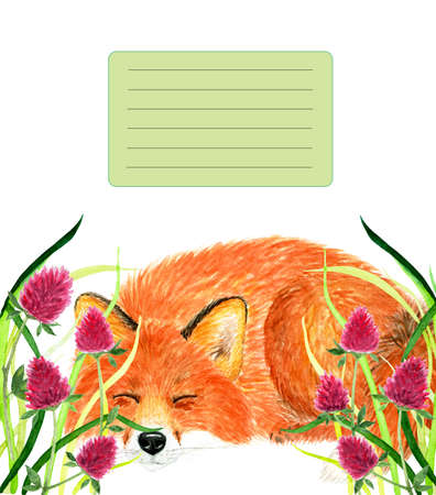 Cover for notebook with sleeping Fox. Watercolor illustration. Fox sleeping in the grass. Background for design, printing on paper. Illustration for product advertising.