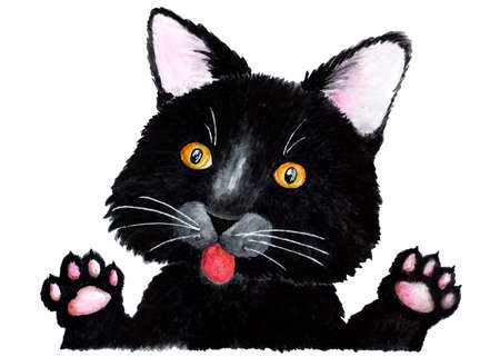 Black cat. Watercolor illustration.Portrait of a black kitten waving its paws. Illustration for printing on t-shirts, fabrics, magazines about animals.