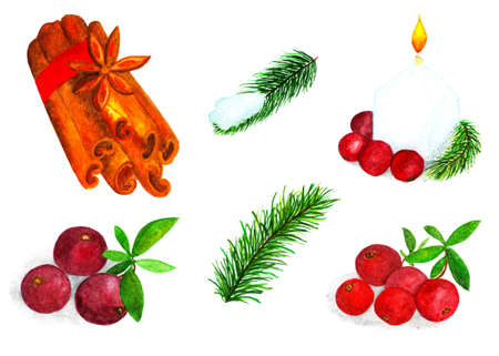 Set of Christmas elements for design. Watercolor illustration. Cinnamon sticks, cranberries, fir branches. Large set of isolated patterns for design.