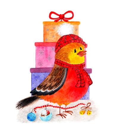 Bullfinch. Cute winter bird. Watercolor illustration. Bullfinch on the background of gifts. Christmas card. Christmas illustration painted in watercolor. Manual work.