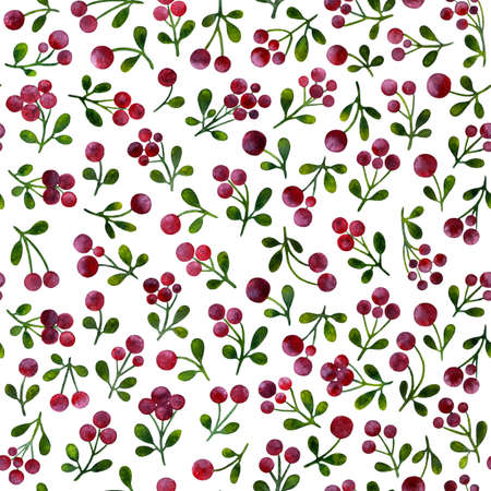 Seamless pattern with branches of lingonberry, painted in watercolor. Pattern for printing on fabric, paper. Sprigs of cowberry on a white background.