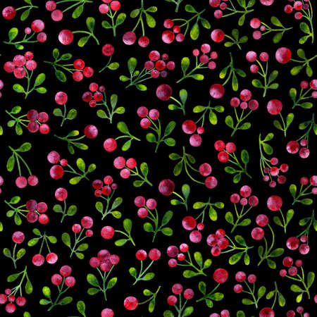 Seamless pattern with branches of cowberries, painted in watercolor. Template for printing on fabric, paper. Pattern with cowberry on black background. Stock Photo