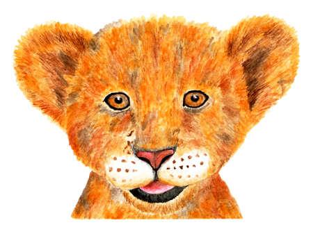 Portrait of lion. Watercolor illustration. Portrait of a little lion cub. Happy lion cub painted in watercolor. Illustration for design, decor.