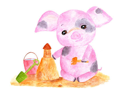 Cute pig. Watercolor illustration. Piggy playing sand castles Monthly calendar with piglet. Illustration-June, July.