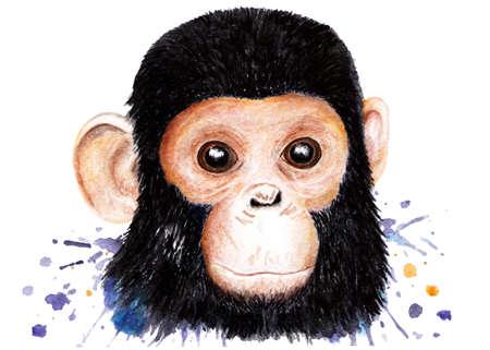 Portrait of a chimpanzee. Watercolor illustration. Monkey. Illustration for printing on t-shirts, t-shirts. Unusual fashion illustration with chimpanzees. Illustration for design, decor.